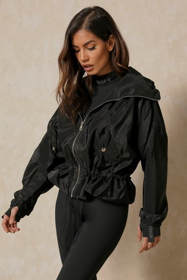 Black Peplum Drawstring Windbreaker Jacket