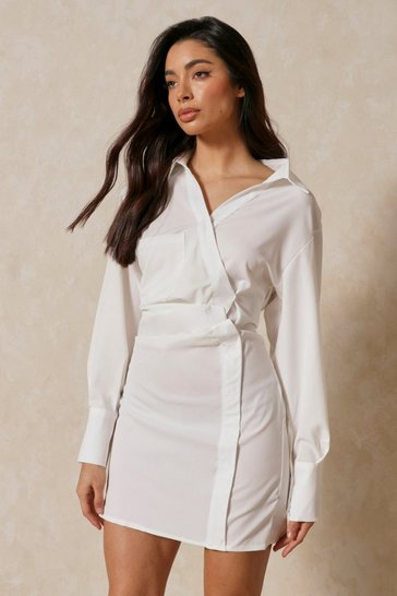White Ruched Side Shirt Dress