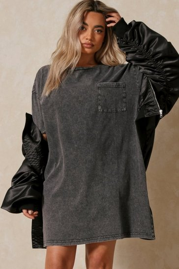 Black Acid Wash T Shirt Dress