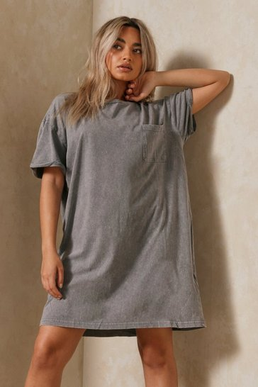 Grey Acid Wash T Shirt Dress