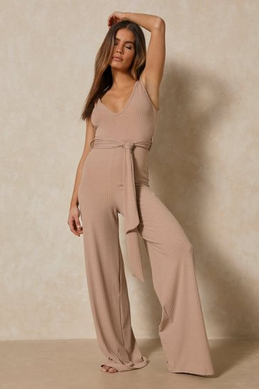 Stone Soft Rib Scoop Neck Belted Wide Leg Jumpsuit