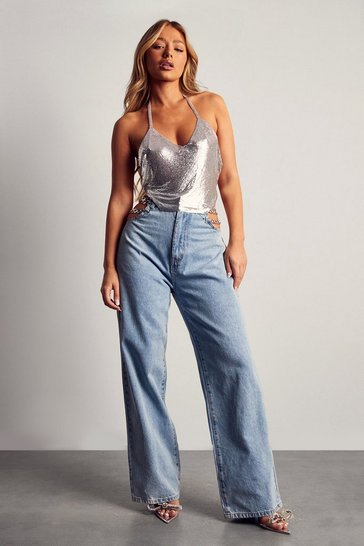 Blue Jean With Cut Out Chain Detail
