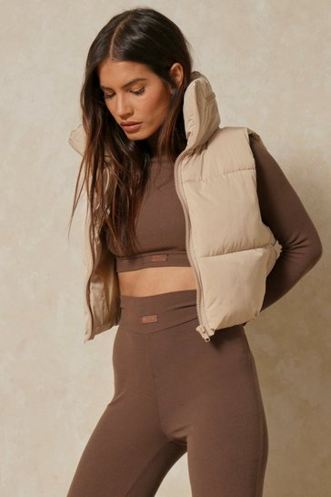 Beige Crop Sleeveless Gilet
