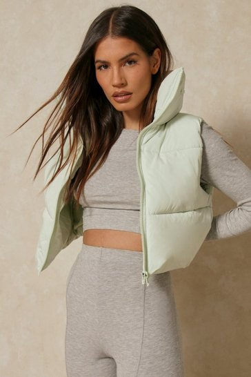 Mint Crop Sleeveless Gilet