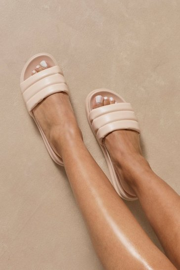 Nude Quilted Platform Sliders