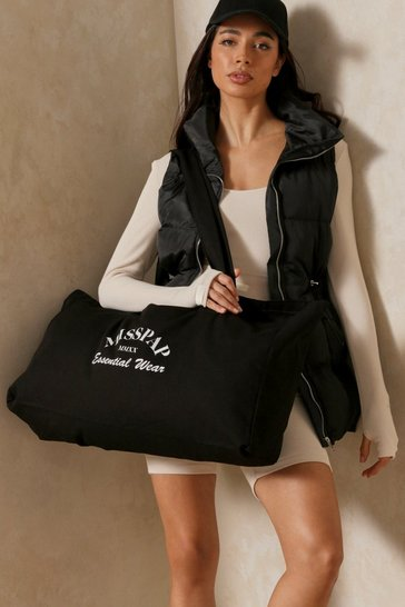 Black Oversized Misspap Canvas Tote Bag