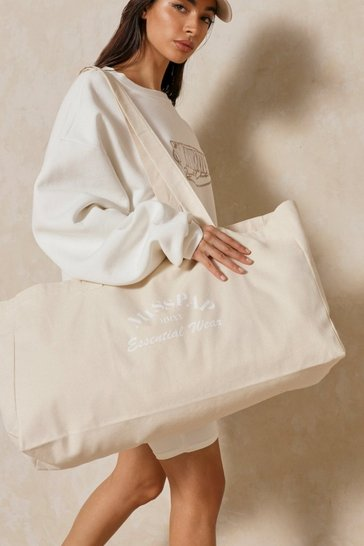 White Oversized Misspap Canvas Tote Bag