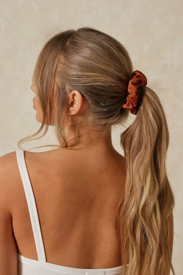 Tan Satin Scrunchie