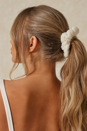 Cream Teddy Scrunchie