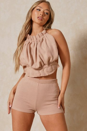 Blush Ruffle Knitted Bandeau Top