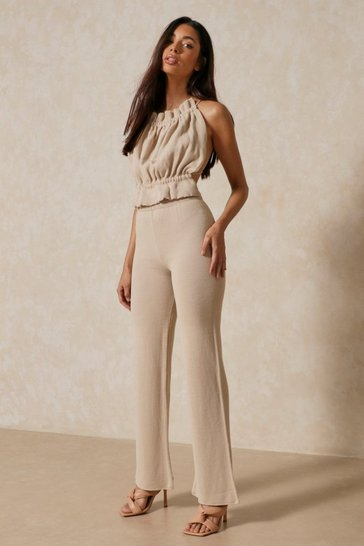 Light stone Knitted Straight Leg Trouser