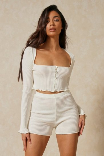 Off white Lettuce Hem Knitted Short Co-ord
