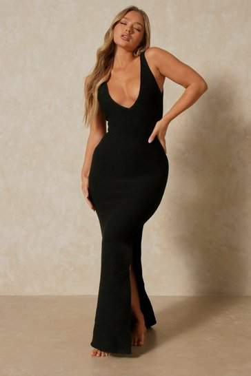 Black Knitted Split Side Scoop Back Maxi Dress
