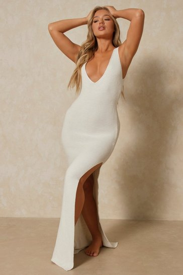 Cream Knitted Split Side Scoop Back Maxi Dress