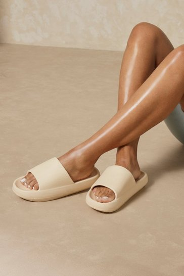 Cream Flatform Mule Rubber Slider