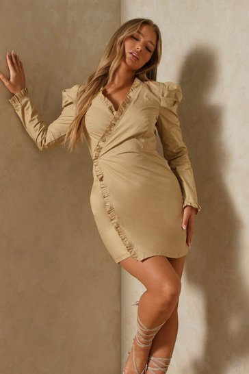 Beige Ruffle Detail Wrap Shirt Dress