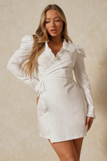 White Ruffle Detail Wrap Shirt Dress