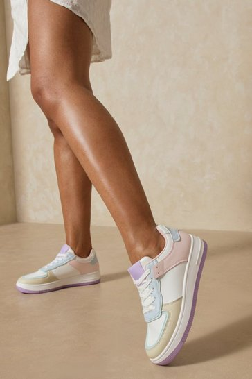 Lilac Contrast Panelled Trainers