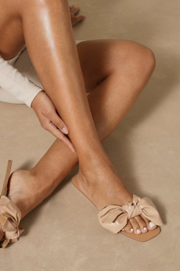 Nude Bow Detail Sandals