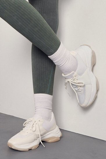 White Chunky Contrast Trainers