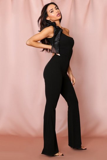 Black Organza Tie Shoulder Flared Jumpsuit
