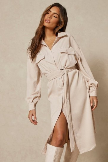 Stone Puff Sleeve Belted Cord Midi Dress