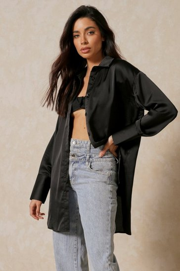 Black Satin Oversized Deep Cuff Shirt