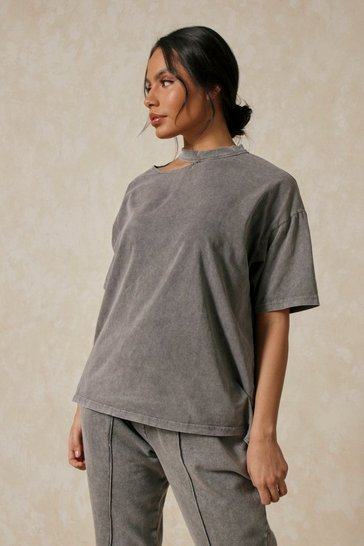 Grey Oversized Cut Out Neck T-Shirt