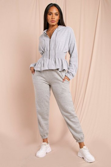 Grey marl Ruched Waist Detail Zip Through Hoodie