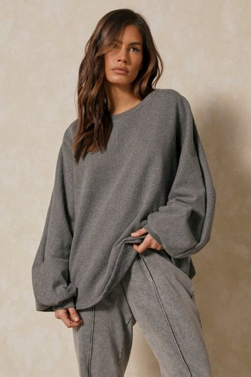 Charcoal Gathered Back Detail Sweatshirt