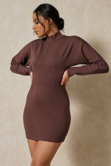 Chocolate Neoprene Seam Detail Batwing Dress
