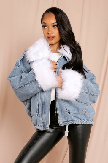 Cream Removable Lining Fur Trim Denim Jacket