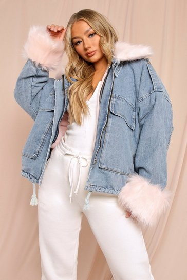 Pink Removable Lining Fur Trim Denim Jacket