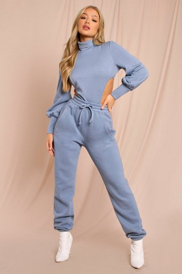 Blue Neoprene High Neck Cut Out Bodysuit