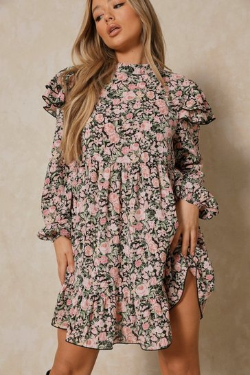 Black Floral Frill Detail Smock Dress