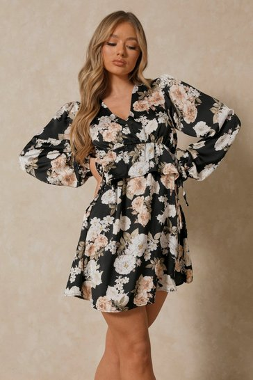 Black Floral Plunge Ruched Detail Smock Dress