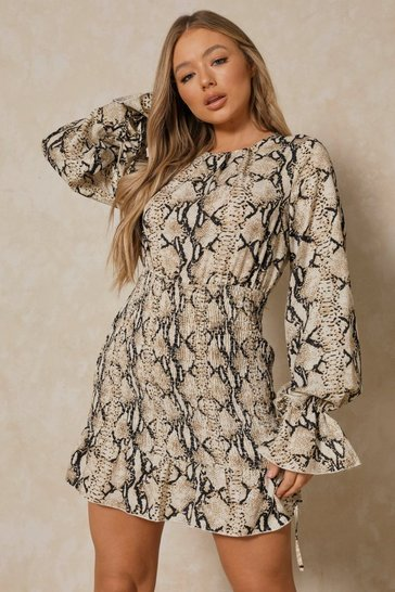 Brown Snake Shirred Detail Flute Sleeve Smock Dress