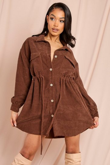 Brown Cord Drawstring Pocket Detail Dress