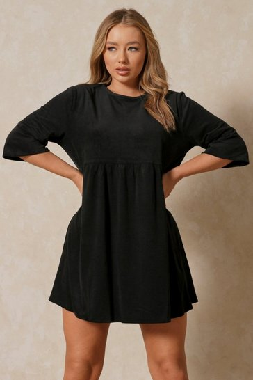 Black Super Soft Cord Oversized Smock Dress