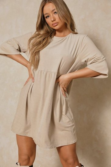 Cream Super Soft Cord Oversized Smock Dress