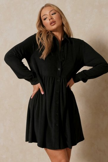 Black Cord Collar Detail Smock Dress