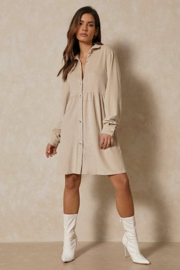 Stone Cord Collar Detail Smock Dress