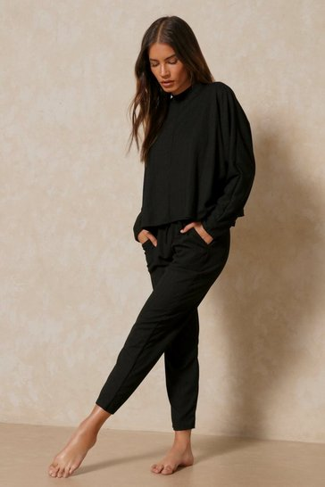 Black Long Sleeve Bandage Boxy Lounge Set