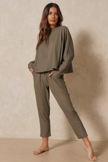 Khaki Long Sleeve Bandage Boxy Lounge Set
