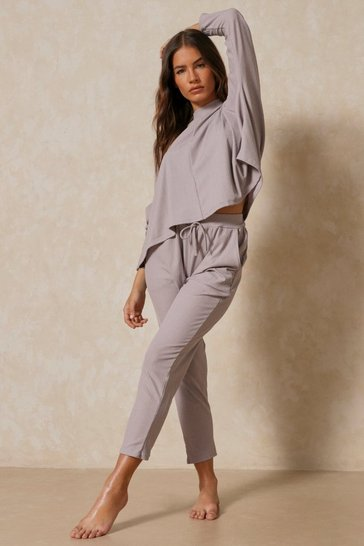 Slate grey Long Sleeve Bandage Boxy Lounge Set