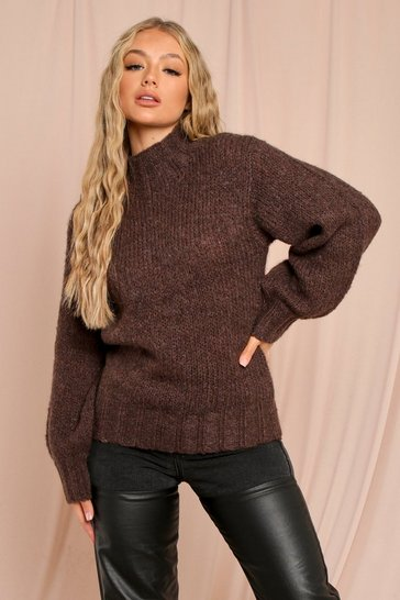 Chocolate Oversized Fluffy Knit Balloon Sleeve Jumper