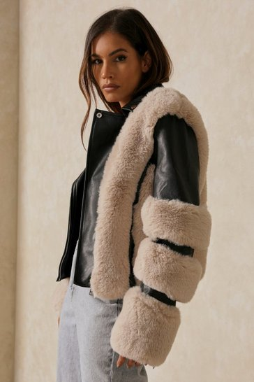 Stone PU Biker With Faux Fur Panels