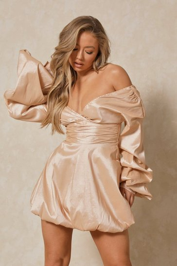 Nude Off The Shoulder Balloon Sleeve Puff Ball Dress
