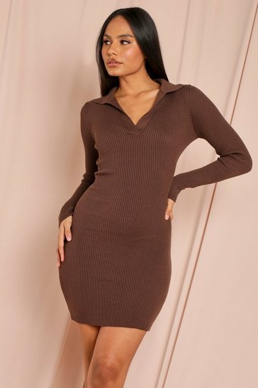 Chocolate Tia Knitted Collared Long Sleeve Midi Dress