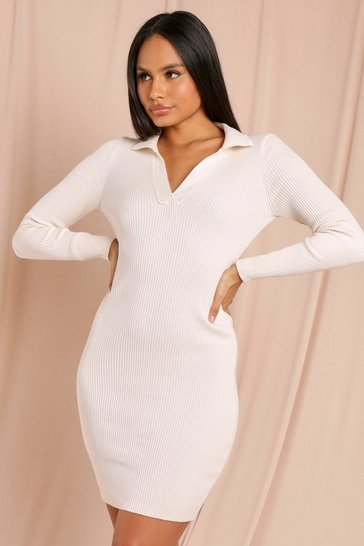 Cream Tia Knitted Collared Long Sleeve Midi Dress